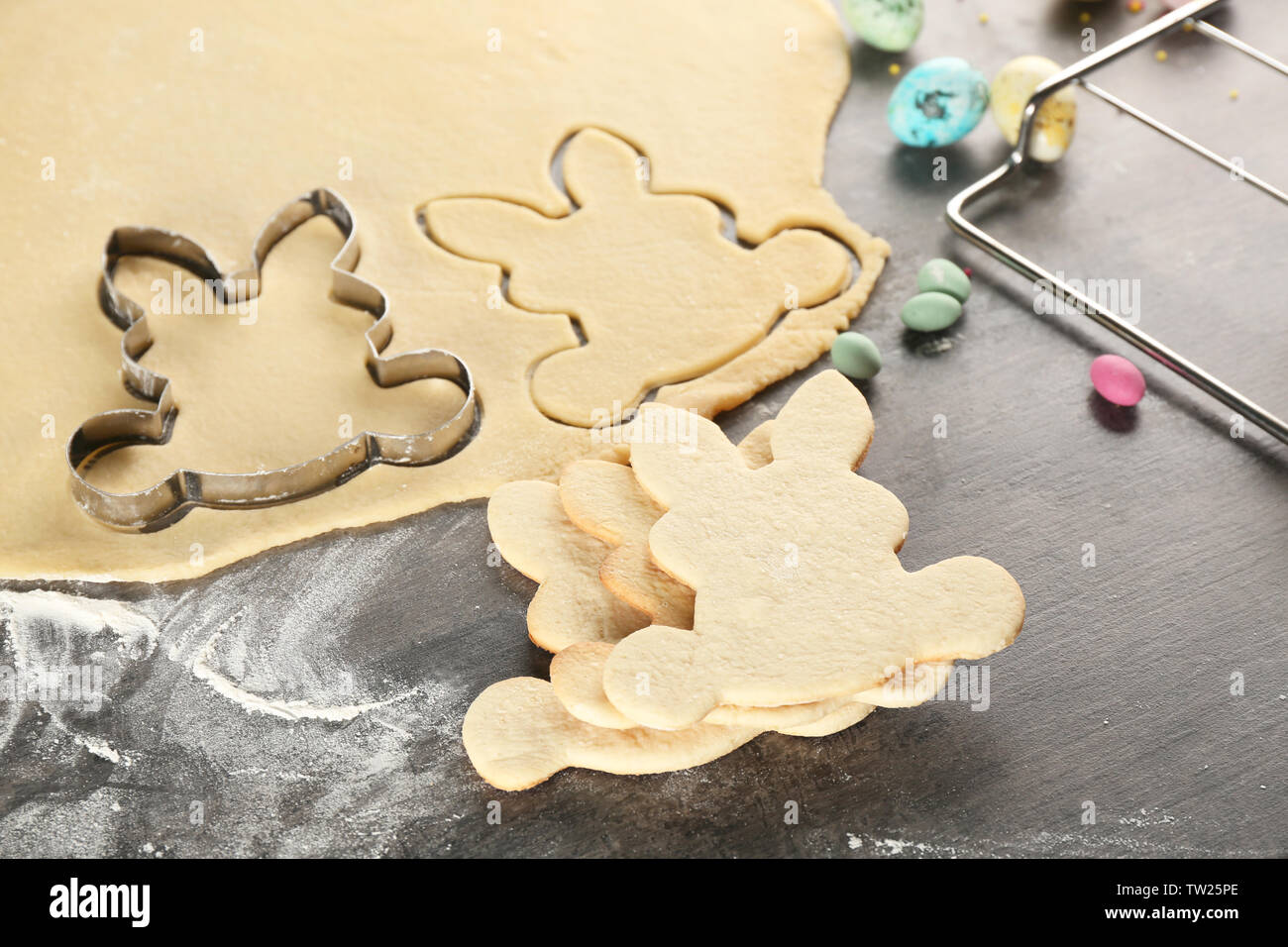 Preparation of Easter cookies - Stock Image