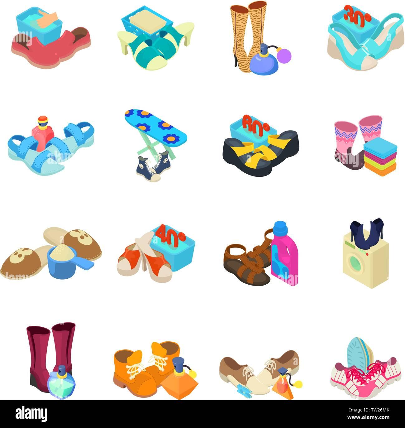 Shoeshine icons set, isometric style - Stock Vector