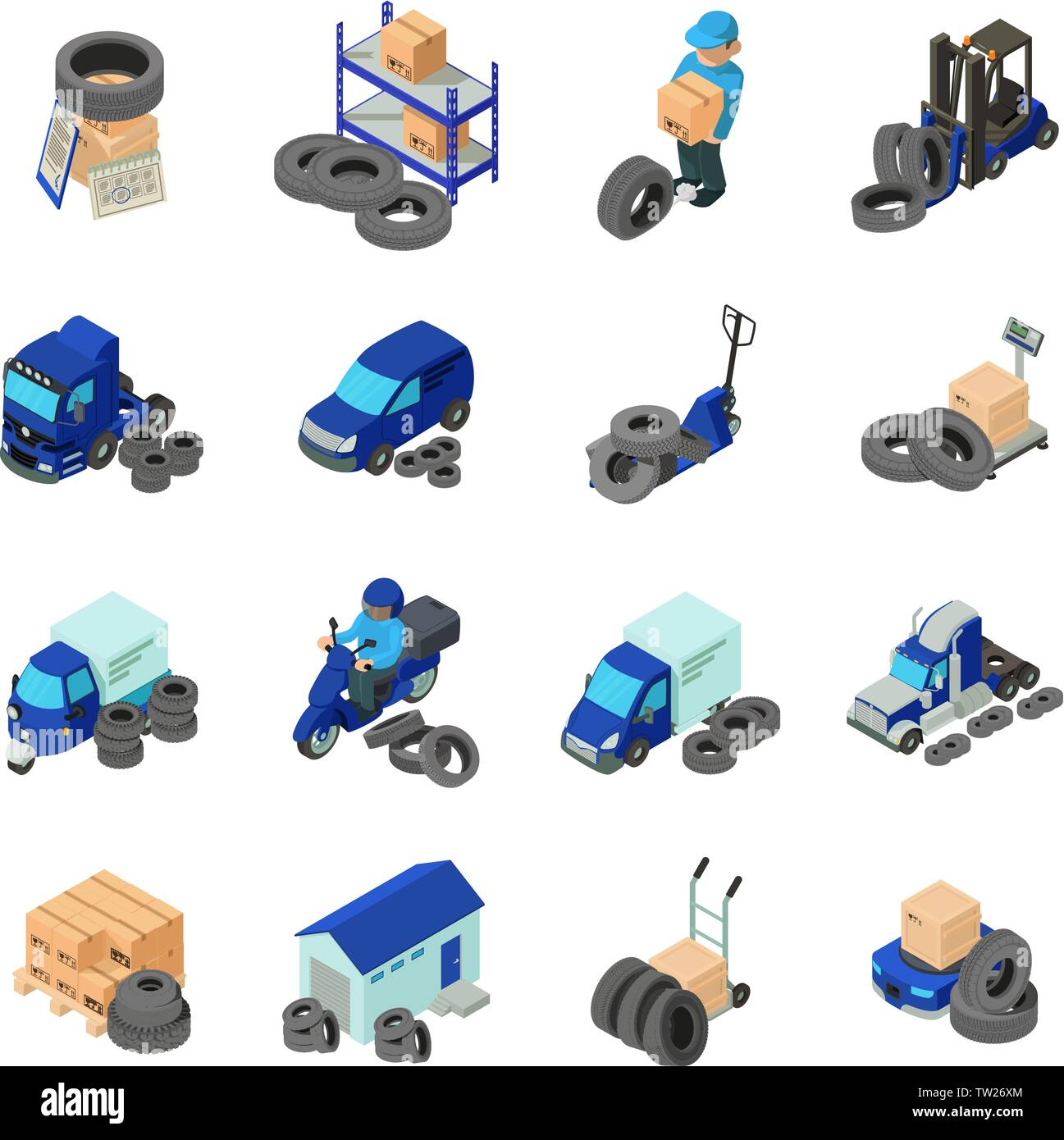 Tire warehouse icons set, isometric style - Stock Vector