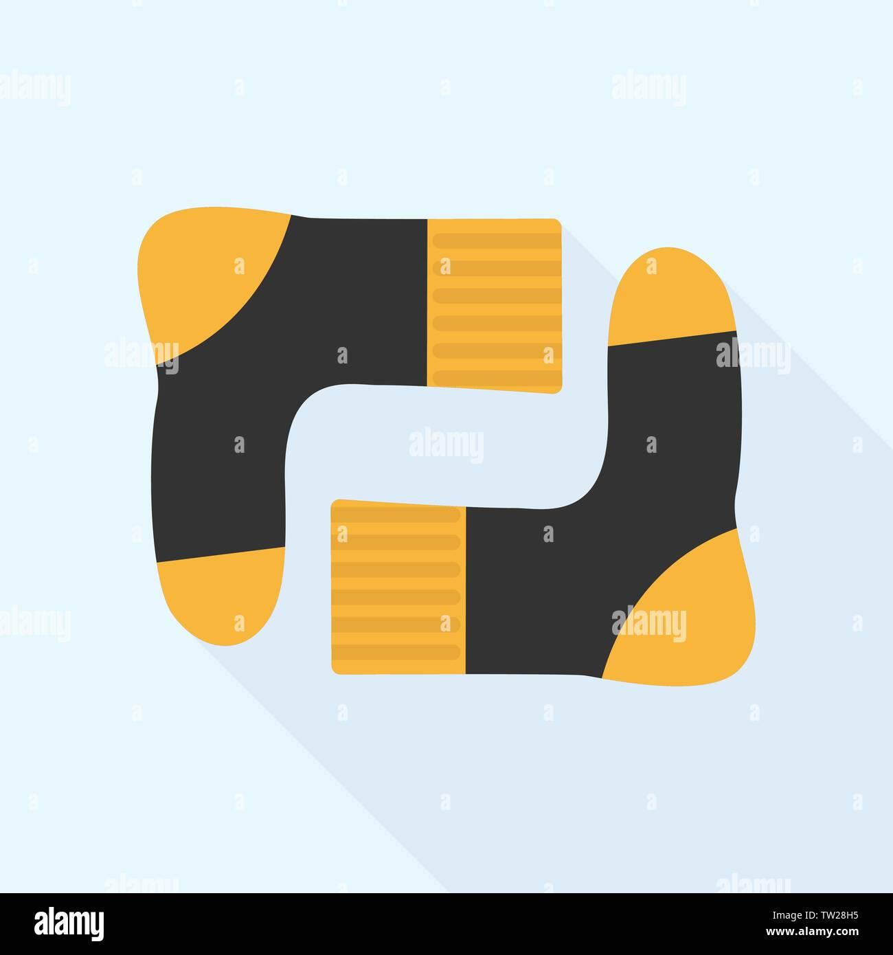 Winter sport socks icon, flat style - Stock Vector