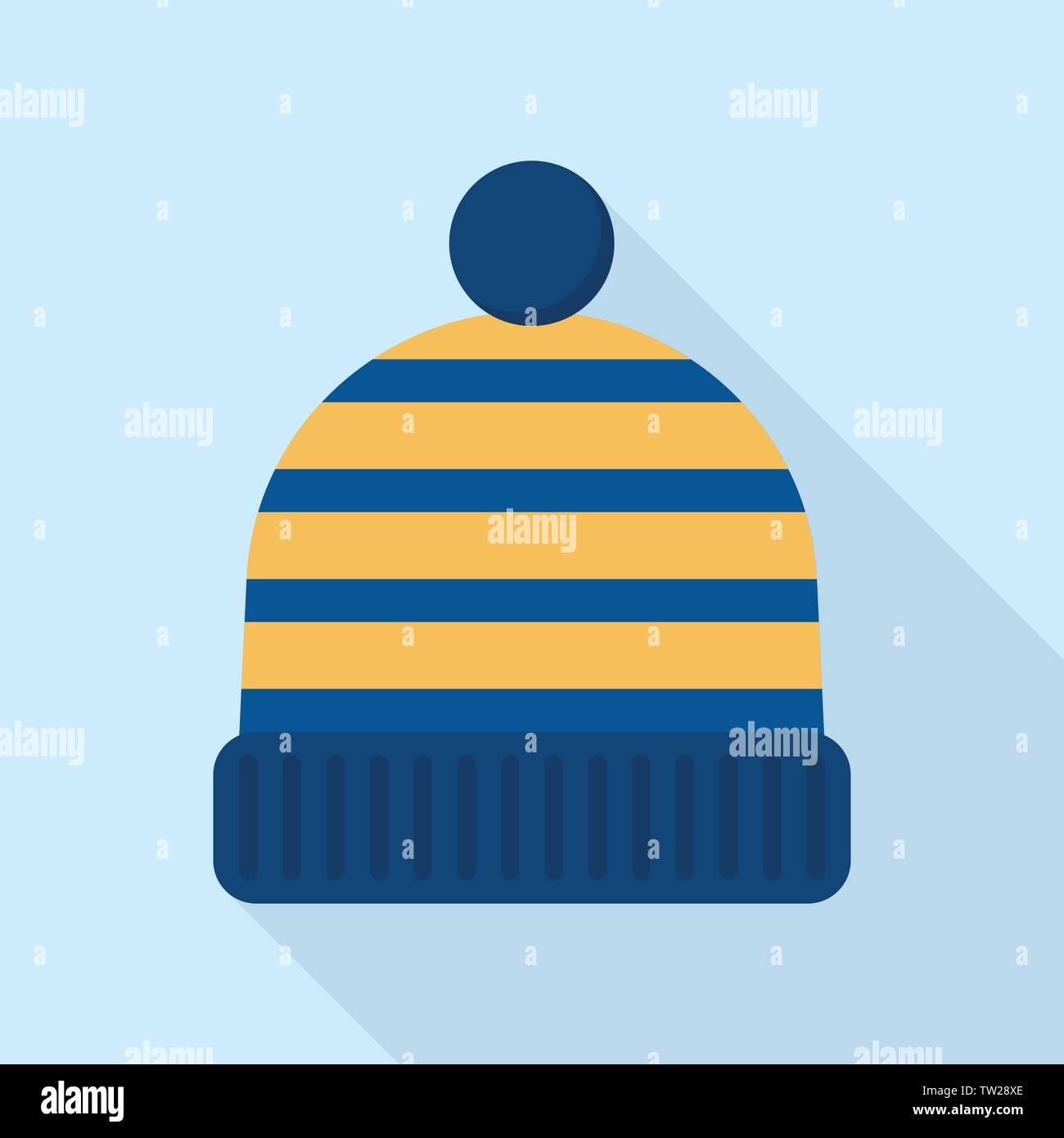 Winter beanie icon, flat style - Stock Vector