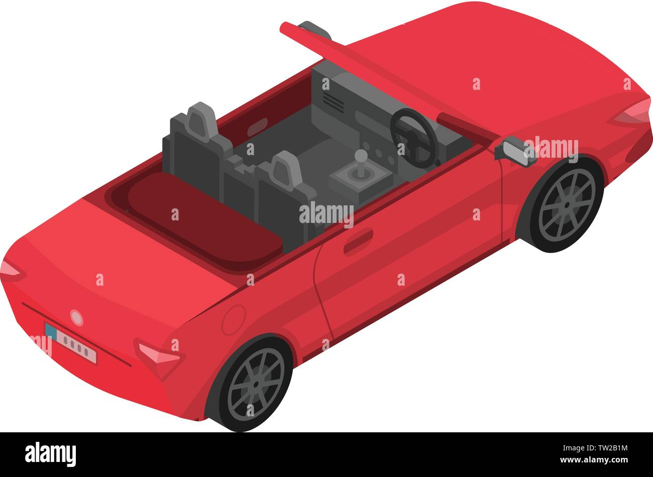 Red cabriolet icon, isometric style - Stock Image