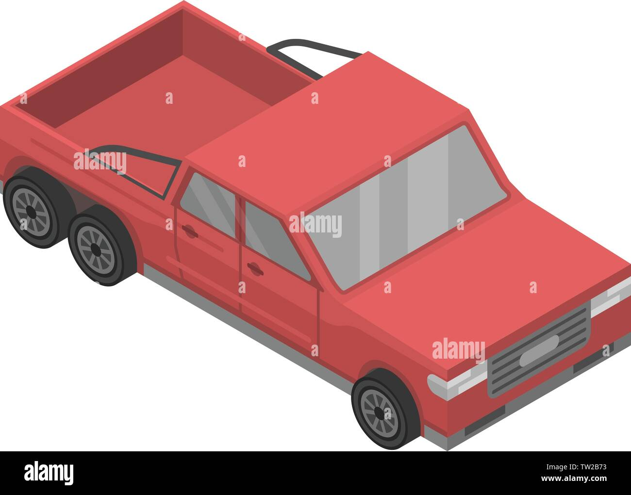 Modern red pickup icon, isometric style - Stock Image