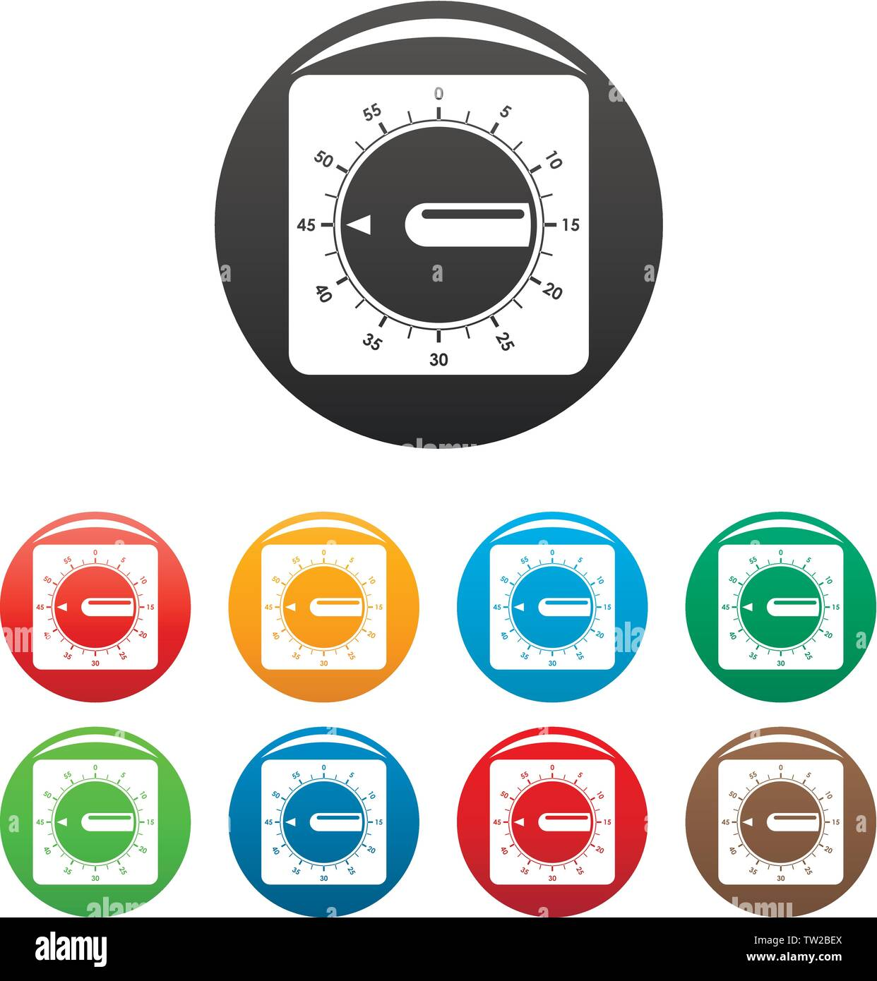 Timer clock icons set 9 color vector isolated on white for any design - Stock Vector