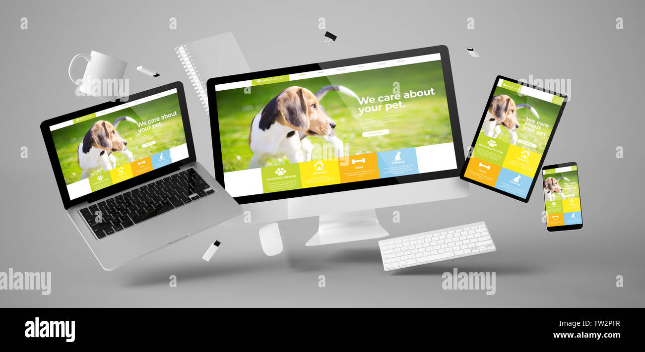 office stuff and devices floating with pet website 3d rendering - Stock Image