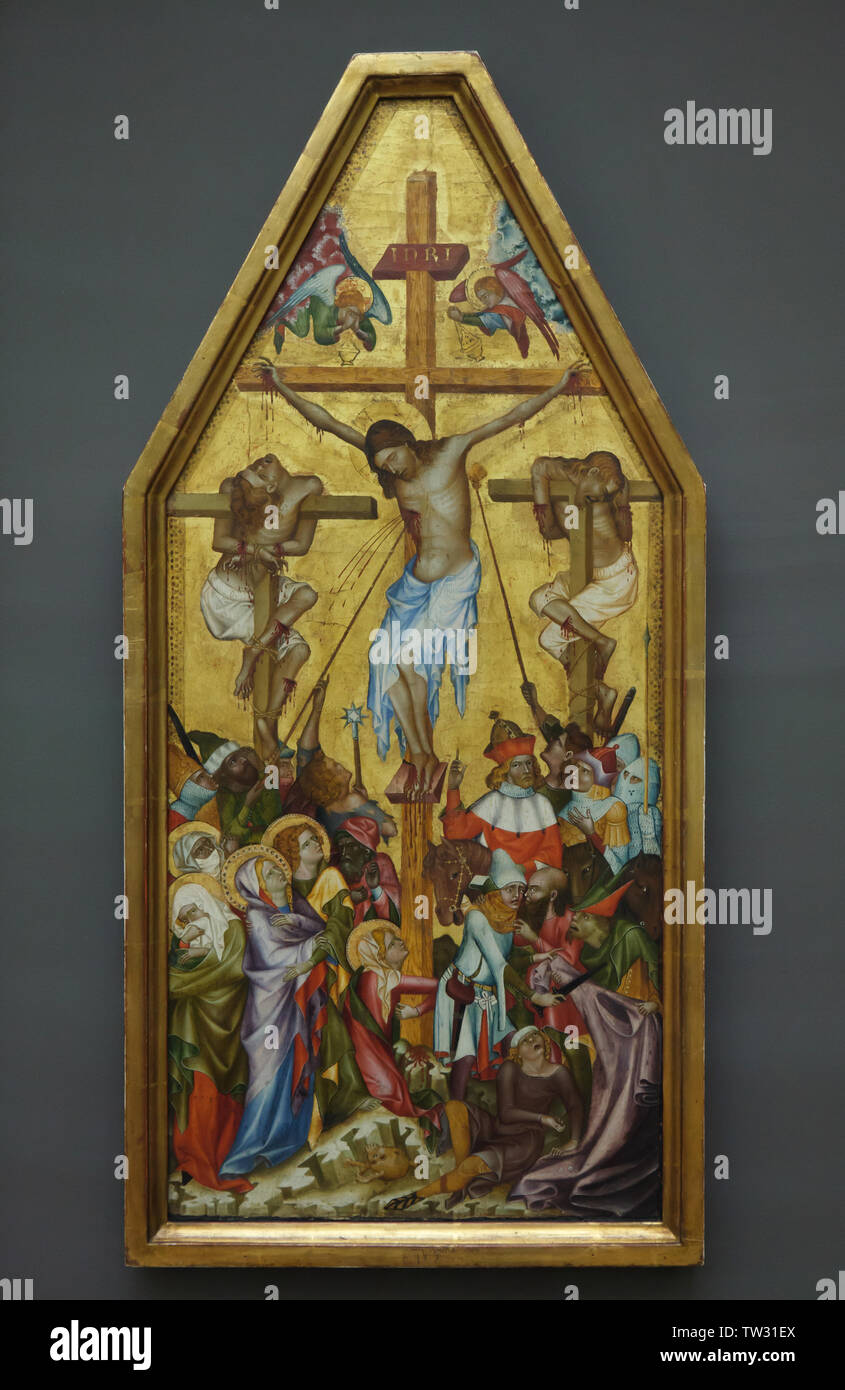Kaufmann Crucifixion by an unknown Bohemian Gothic painter dated from around 1350 on display in the Berliner Gemäldegalerie (Berlin Picture Gallery) in Berlin, Germany. Stock Photo