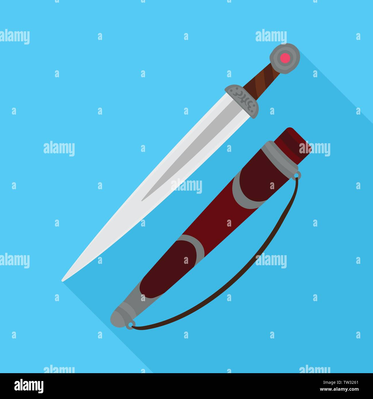 Vector illustration of dagger  and knife symbol. Collection of dagger  and engraving vector icon for stock. - Stock Image