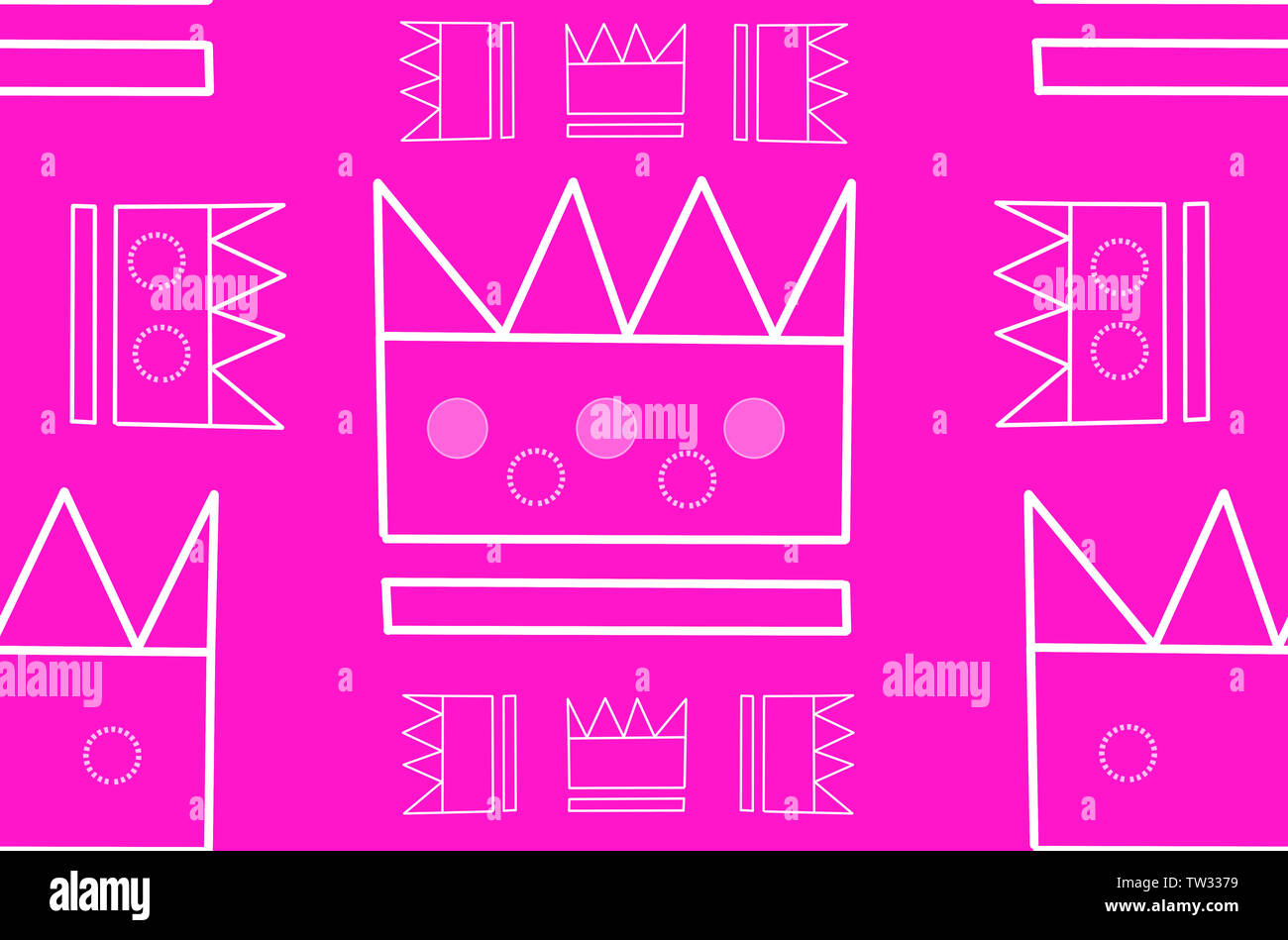 Princess crown on pink background seamless pattern for girls room wallpaper. Simple pattern can be used for textile. - Stock Image