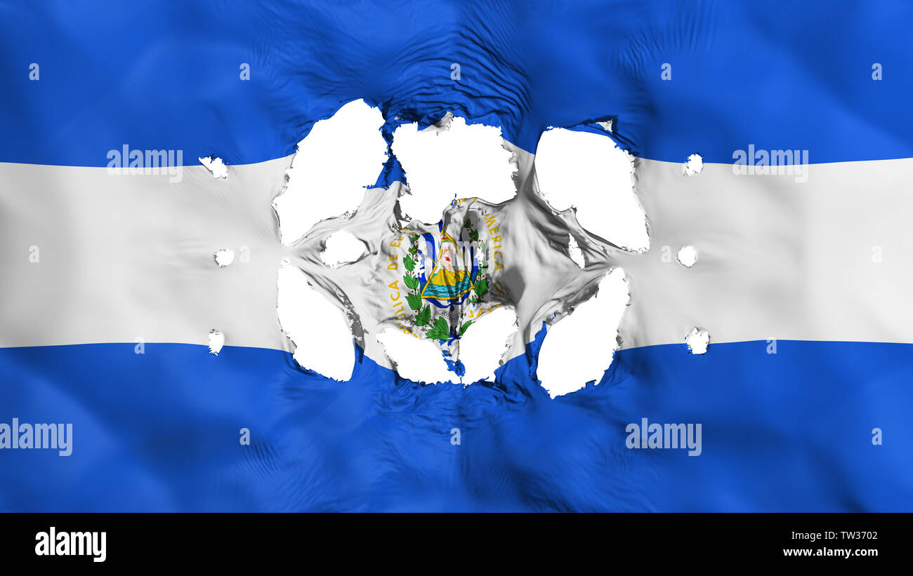 Holes in El Salvador flag - Stock Image