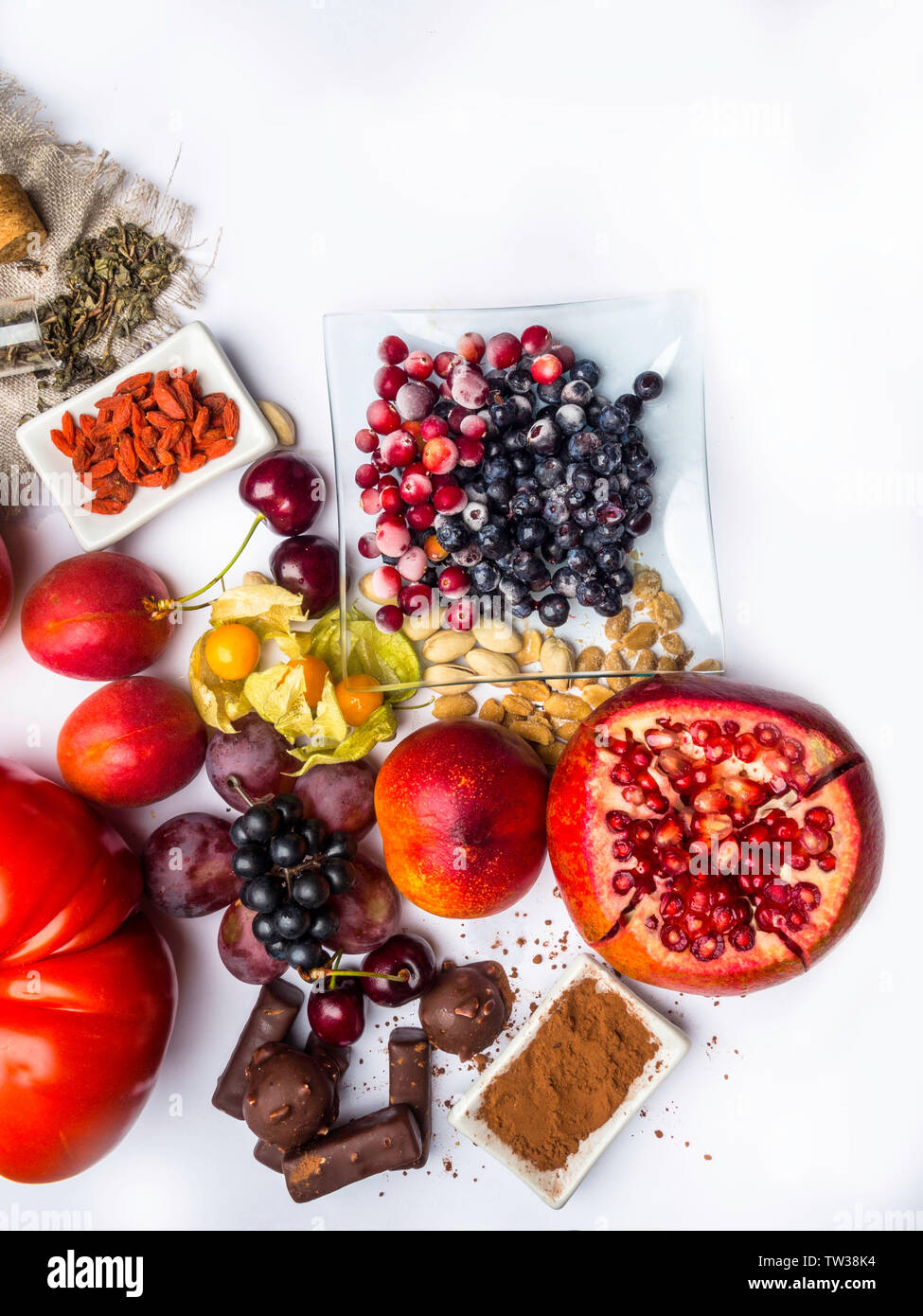 Mix Of Fresh Fruits And Berries Antioxidants Resveratrol Food As
