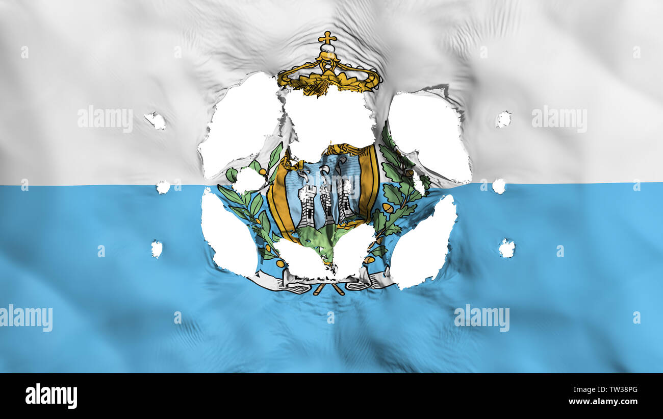 Holes in San Marino flag - Stock Image