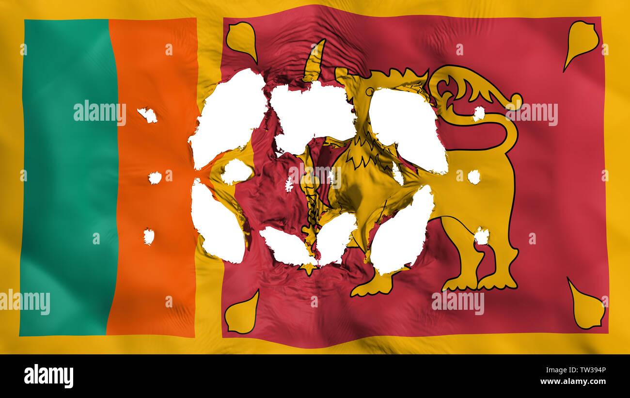 Holes in Sri Lanka flag Stock Photo