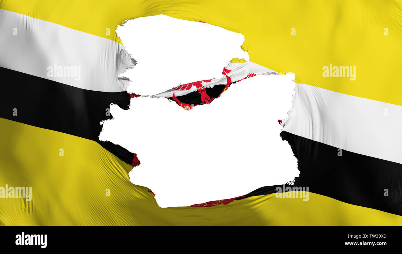 Tattered Bandar Seri Begawan flag - Stock Image