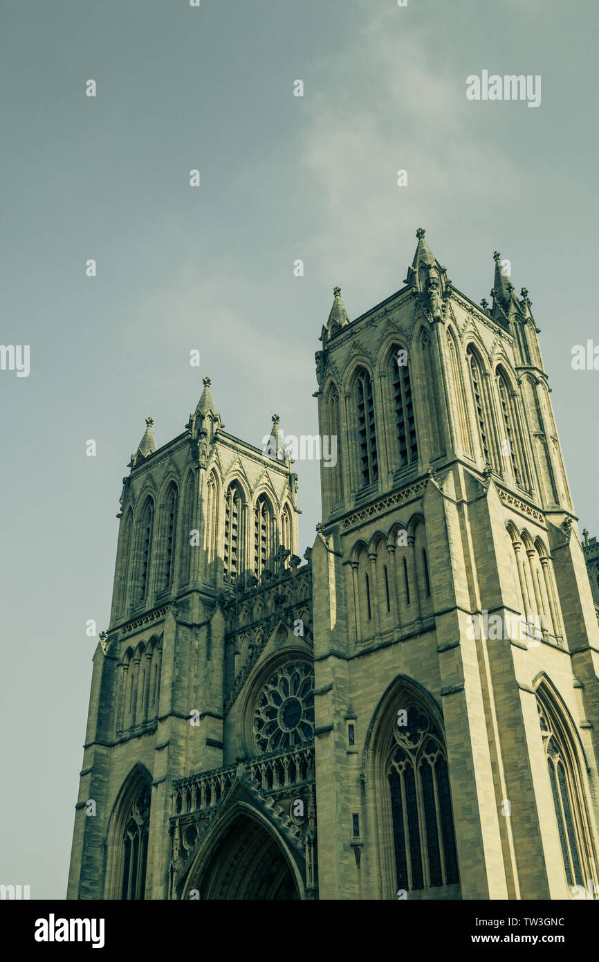 Two towers on the west front of Bristol Cathedral, Bristol, England, UK - Stock Image
