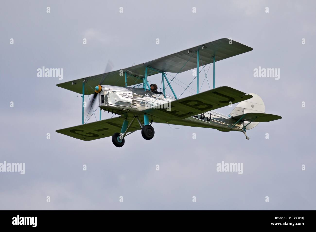 1931 Blackburn B2 airborne at the Shuttleworth evening airshow on the 18th May 2019 - Stock Image