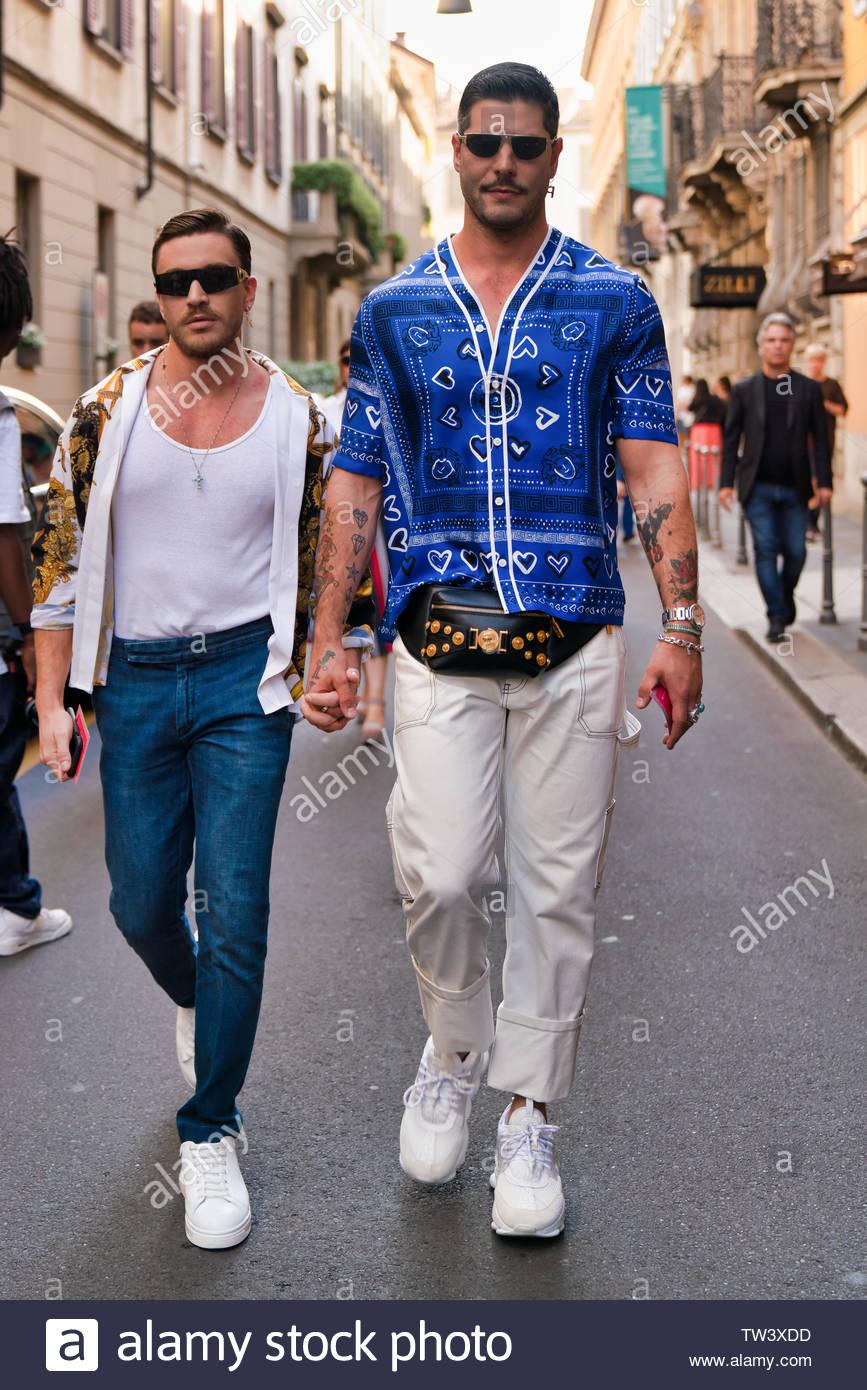 MILAN, ITALY - JUNE 15: Kadu Dantas is seen outside Versace during the Milan Men's Fashion Week Spring/Summer 2020 on June 15, 2019 in Milan, Italy. - Stock Image