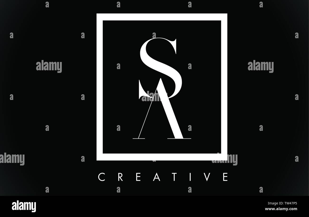 SA Letter Design Logo with Black and White Colors Trendy Vector Illustration. - Stock Vector