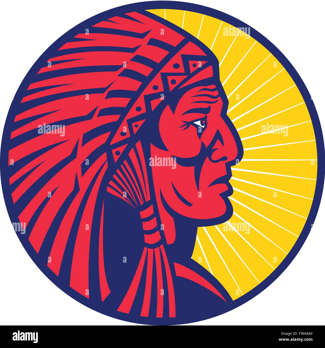 Mascot icon illustration of head of an old Native American Indian chief wearing feather headdress or war bonnet viewed from side set inside circle on - Stock Image