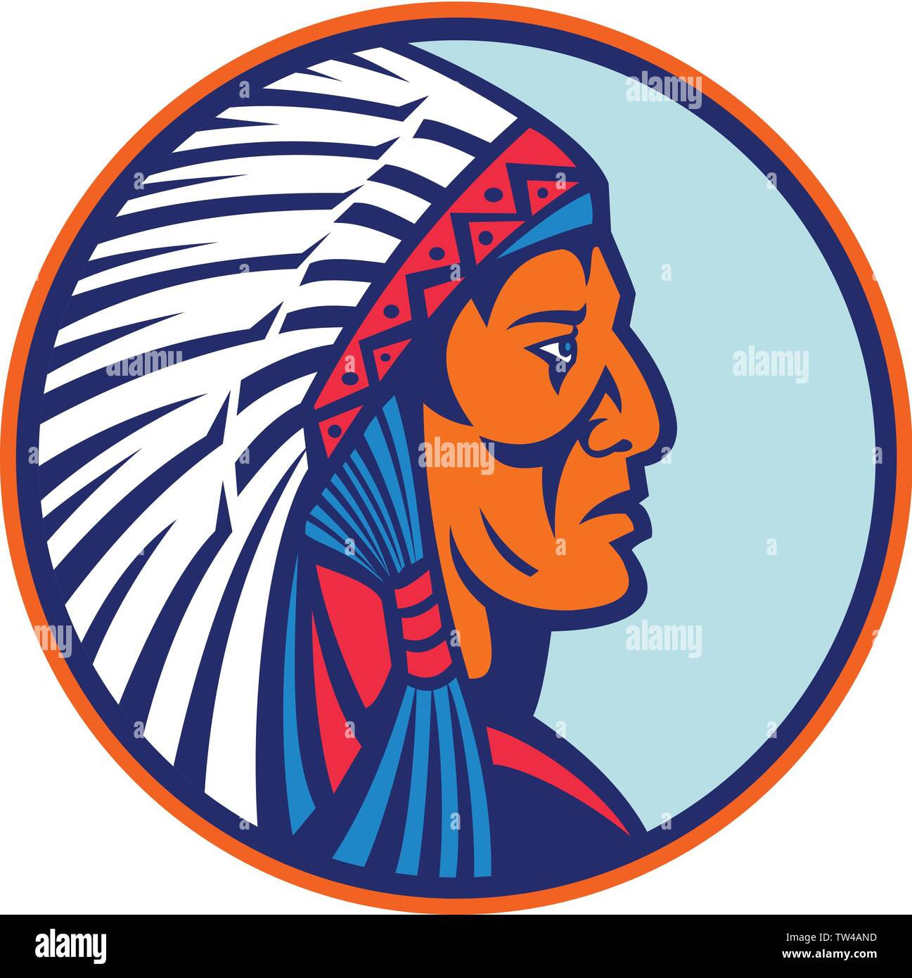 Mascot icon illustration of head of a Cheyenne brave, chief or warrior, one of the indigenous people of the Great Plains of North America wearing a wa - Stock Image