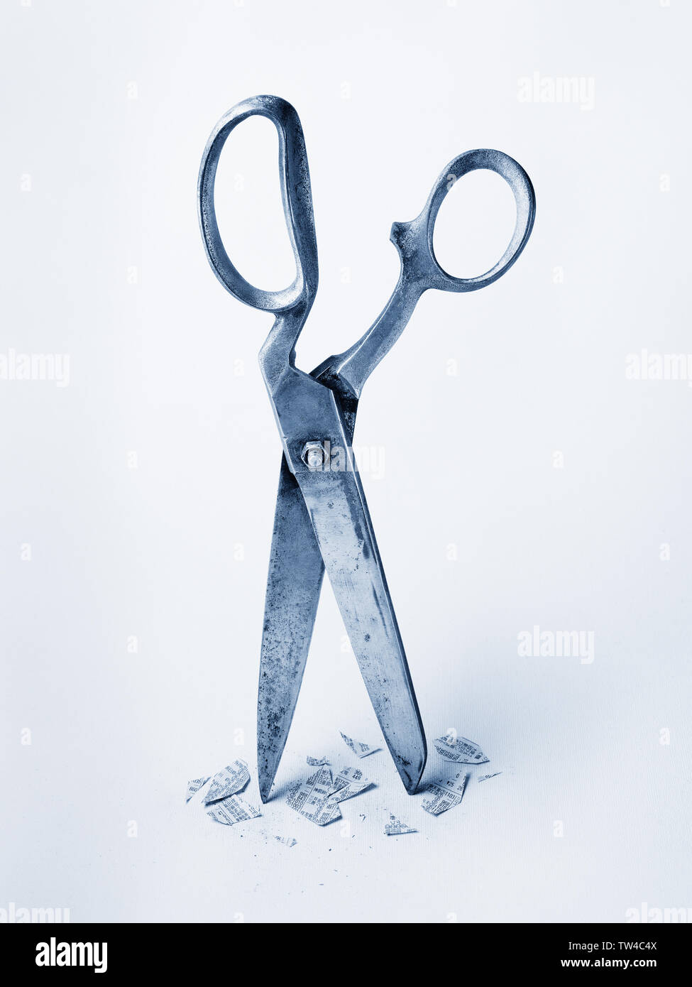 Conceptual image depicting censorship or investments gone wrong with scissors and cut bits of newspaper. - Stock Image