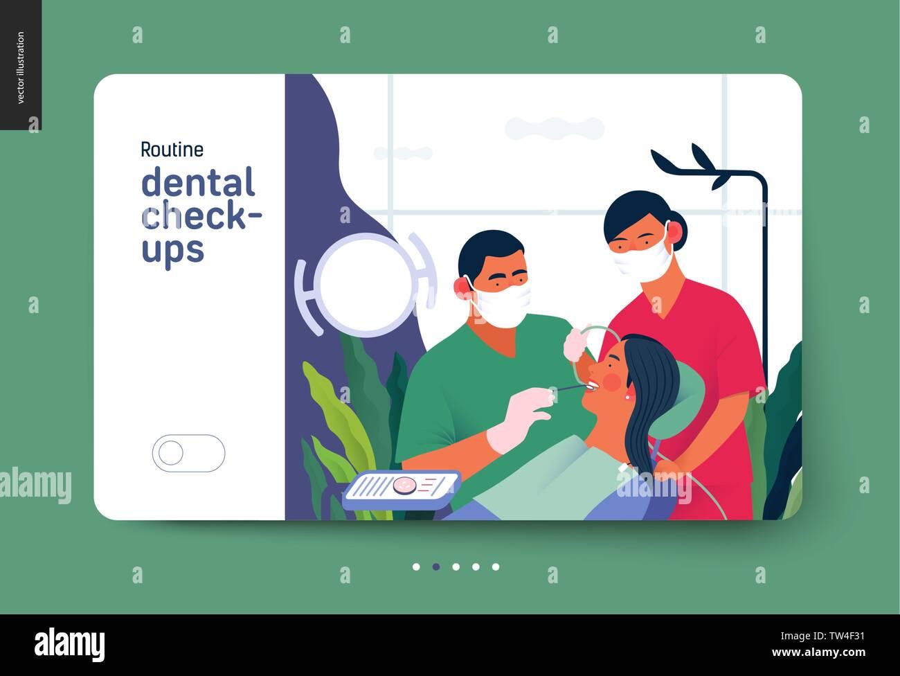 Medical insurance template - routine dental checkups - modern flat vector concept digital illustration of a dental procedure - patient, dentist checki - Stock Image