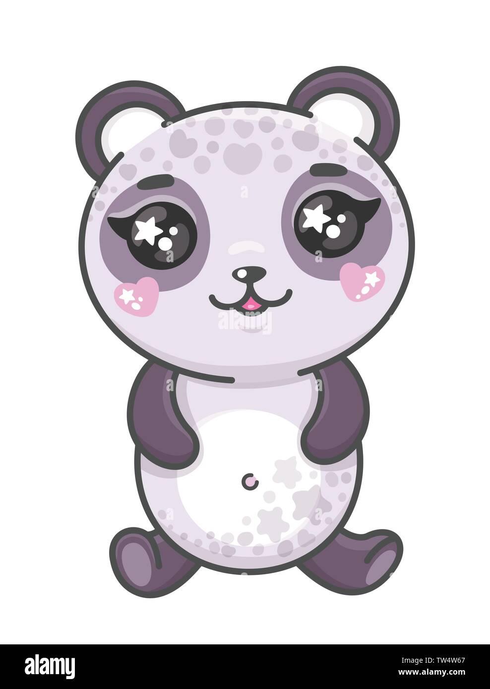 Cute Panda Cartoon Vector Illustration Smiling Baby Animal Panda In Kawaii Style Isolated On White Background Stock Vector Image Art Alamy