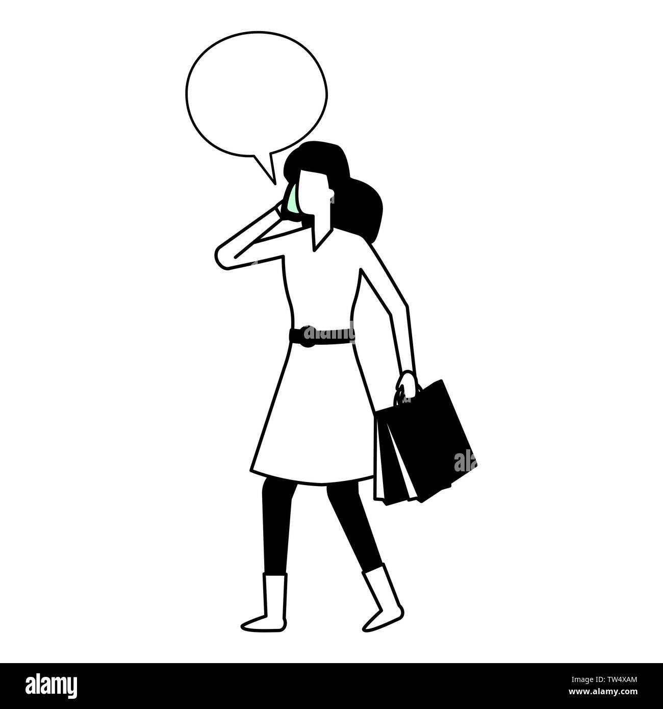 woman using smartphone talking bubble vector illustration - Stock Image