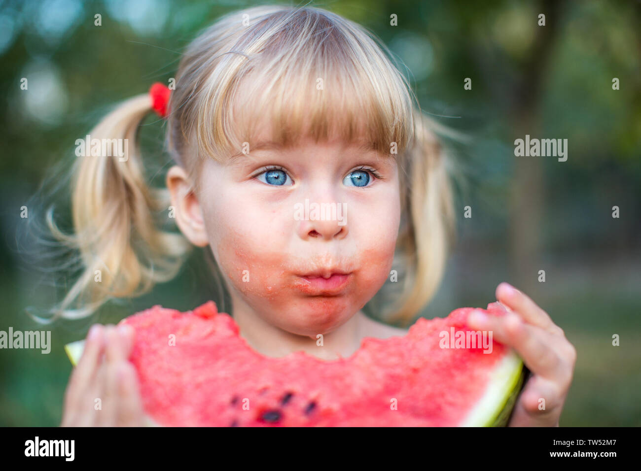 Pleasant Portrait Of Beautiful Blonde Little Girl With Two Ponytails And Natural Hairstyles Runnerswayorg