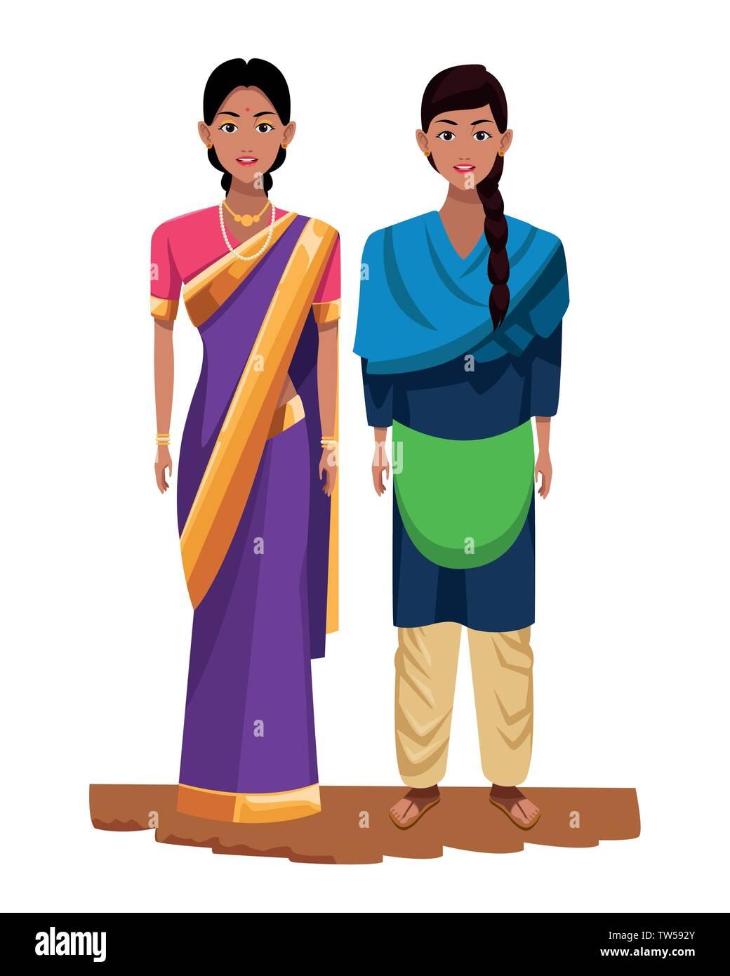 Indian Women Avatar Cartoon Character Stock Vector Image Art Alamy
