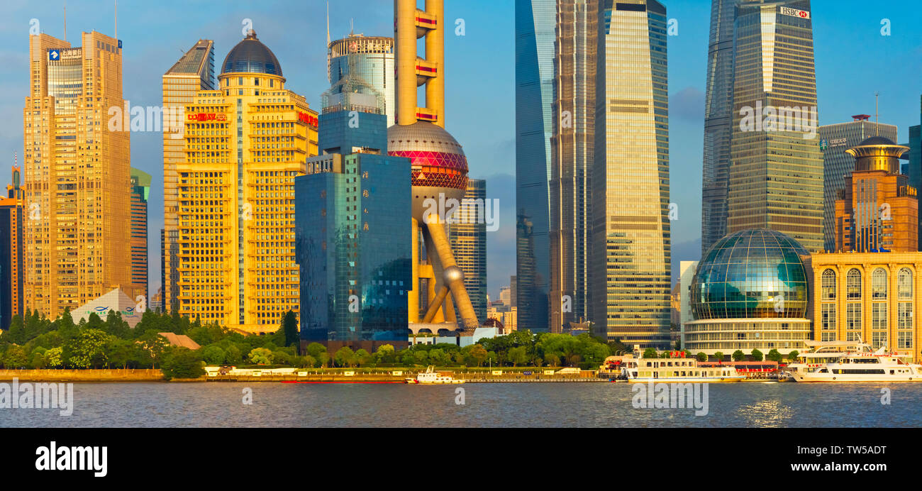 Oriental Pearl TV Tower and high rises by Huangpu River, Pudong, Shanghai, China - Stock Image