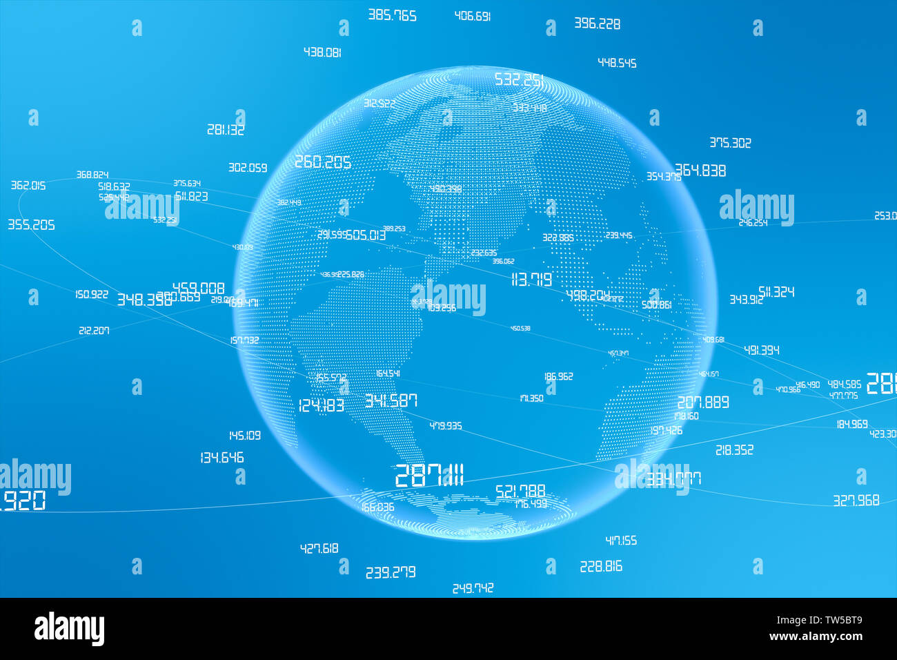 3D rendering, global big data concept light color background Stock Photo