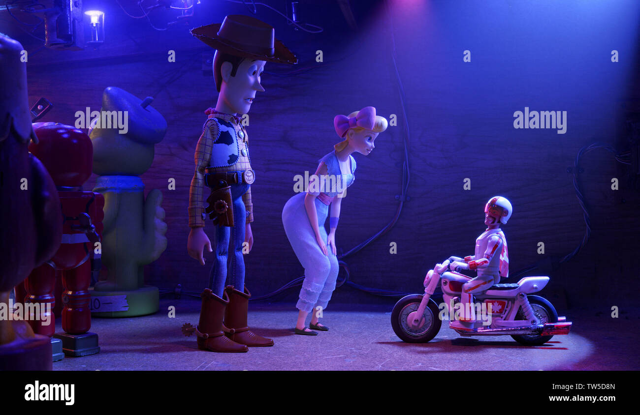 Tom Hanks, Keanu Reeves, and Annie Potts in Toy Story 4 (2019) Photo Credit: Disney-Pixar/ The Hollywood Archive - Stock Image