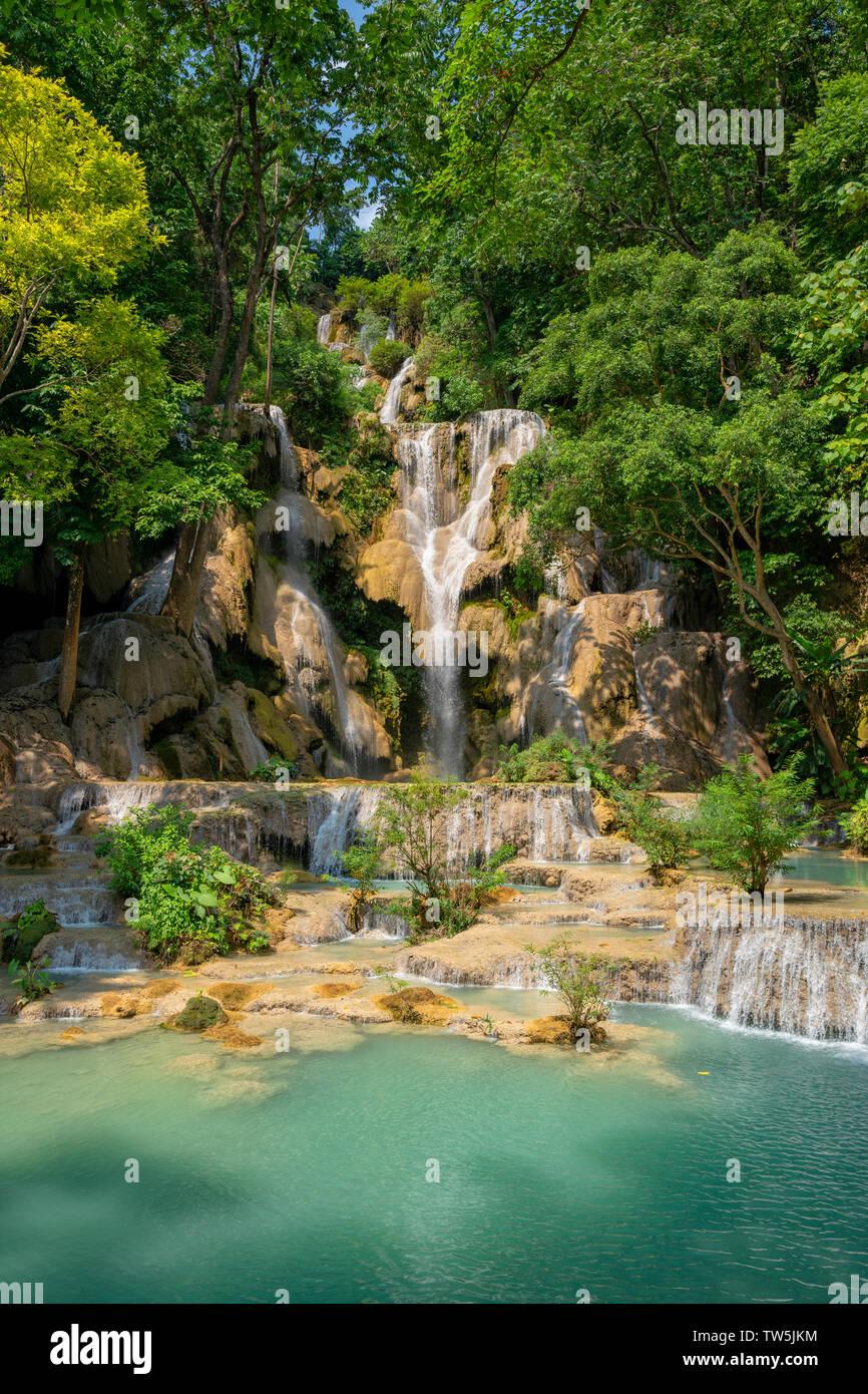Kuang Si Waterfall in Laos Asia Stock Photo