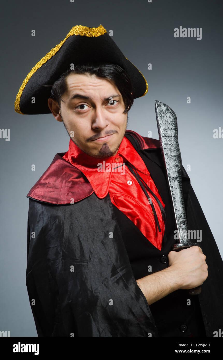 Man pirate against dark background - Stock Image