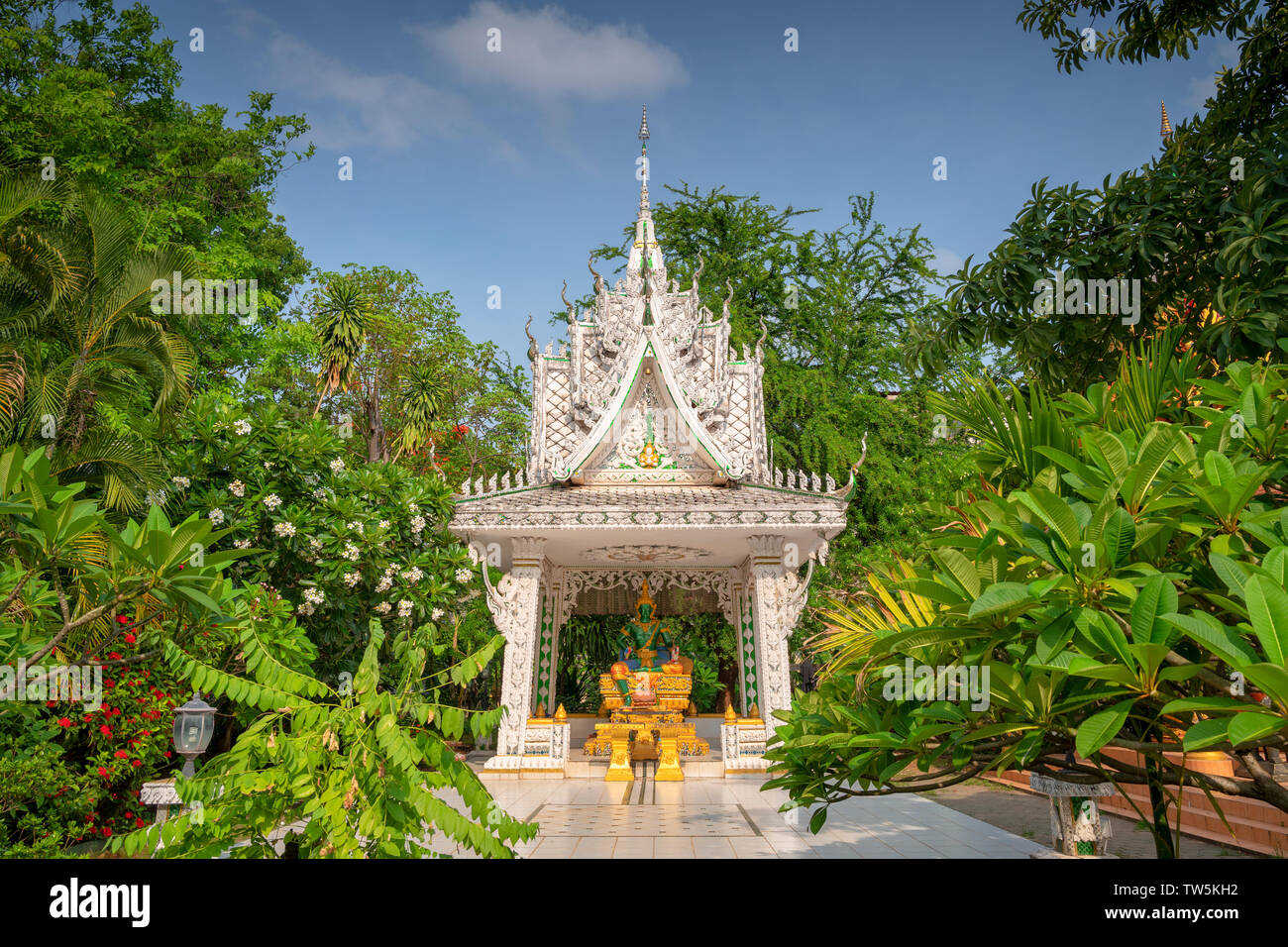 Jade Buddha in a temple in Vientiane Laos Stock Photo
