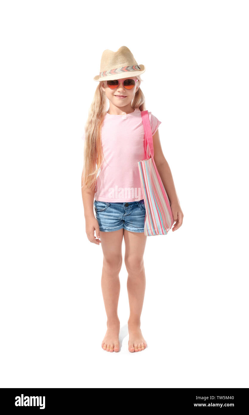 Cute little girl on white background. Summer vacation concept - Stock Image