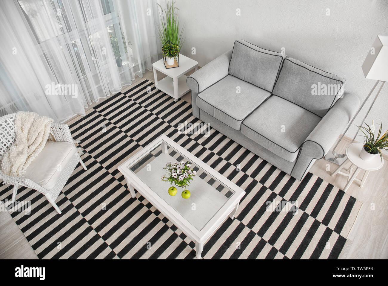 Modern Living Room Design With Big Striped Carpet Stock Photo Alamy
