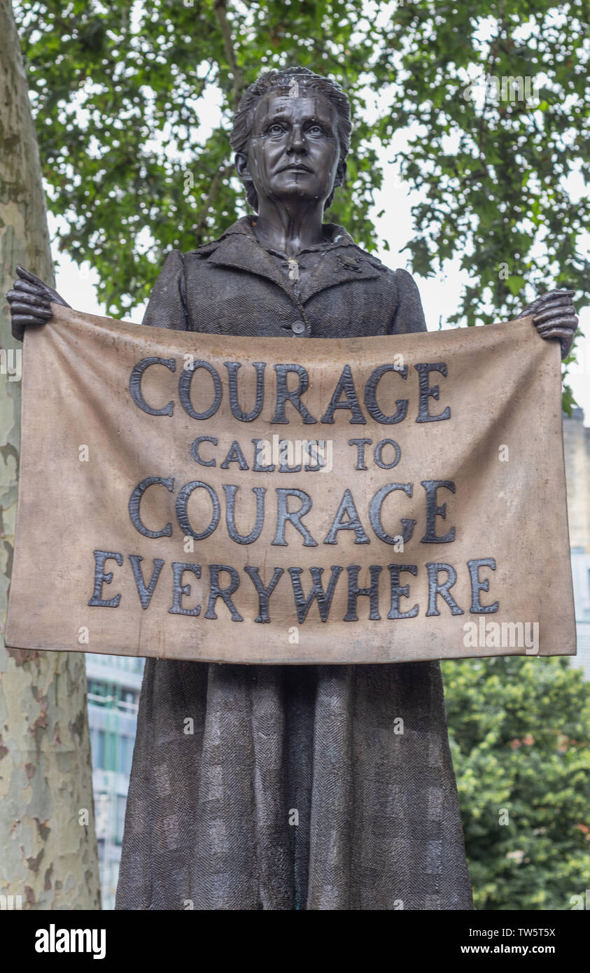 London / UK - June 18th 2019 - Statue of Millicent Fawcett in Parliament Square, 'Courage Calls to Courage Everywhere' - Stock Image