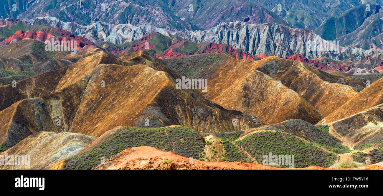 Colorful mountains in Zhangye National Geopark, Zhangye, Gansu Province, China - Stock Image