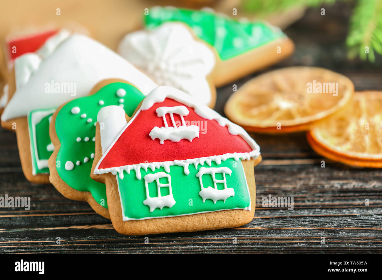 Creative Christmas Cookies On Wooden Background Stock Photo