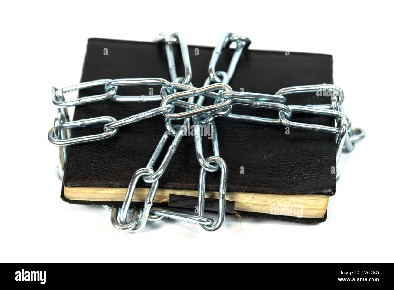 notebook locked with a chain - Stock Image