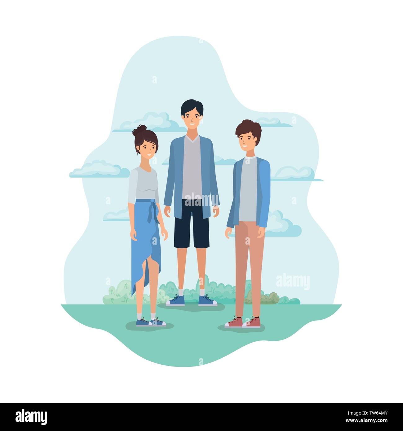 group of people in landscape with trees and plants vector illustration design - Stock Image