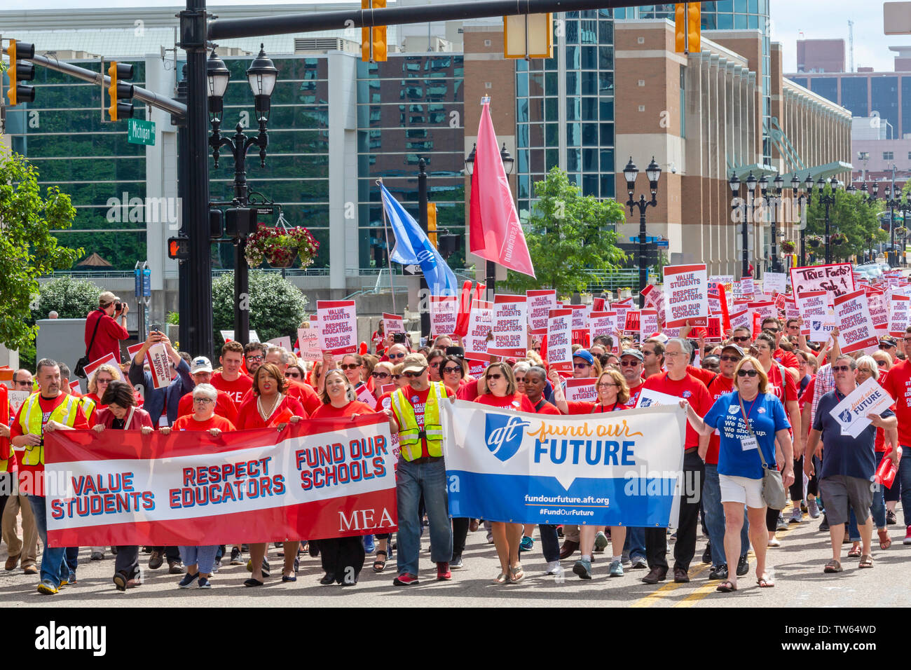 Lansing, Michigan USA – 18 June 2019 – Michigan teachers rallied at the state capitol to demand that the legislature increase funding for public educa - Stock Image