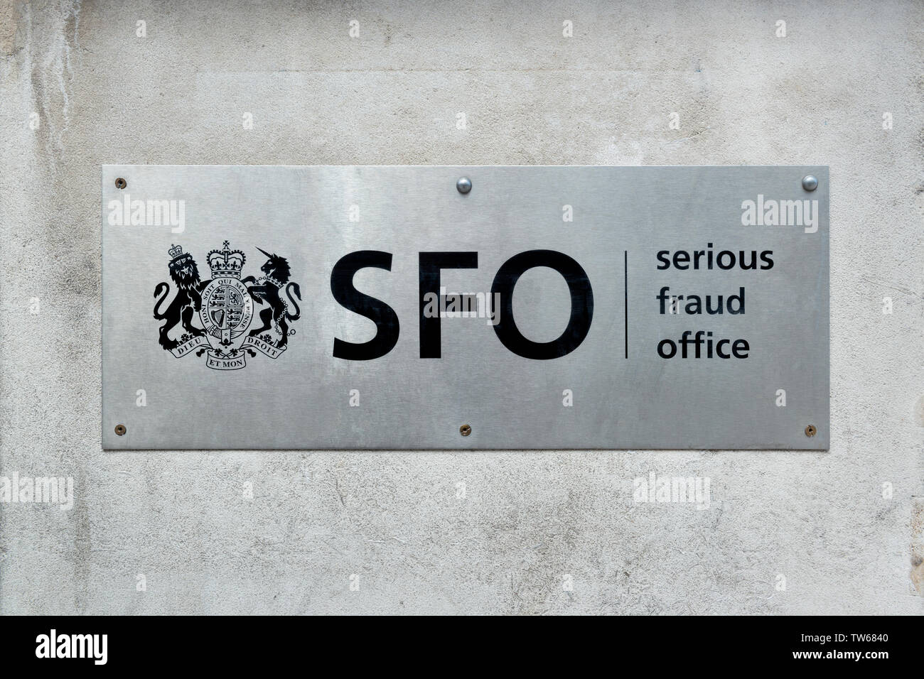 The sign of the Serious Fraud Office (SFO) outside the organisation's offices on Cockspur Street in London. - Stock Image