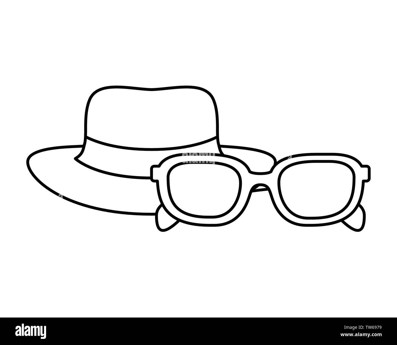 silhouette of hat with ribbon and sunglasses Stock Vector