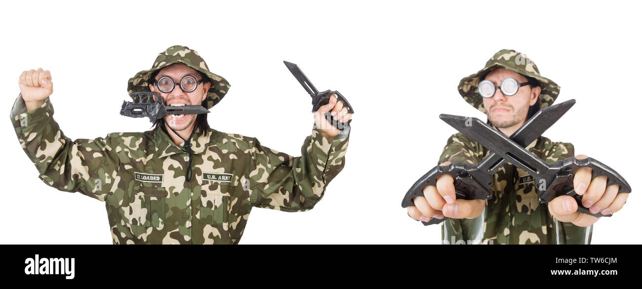 Funny soldier isolated on white - Stock Image