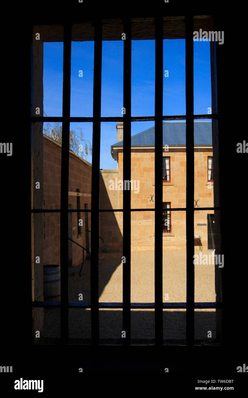 Richmond Gaol was established in 1825 to house convicts.   The view into the courtyard from the prisoners cells. - Stock Image