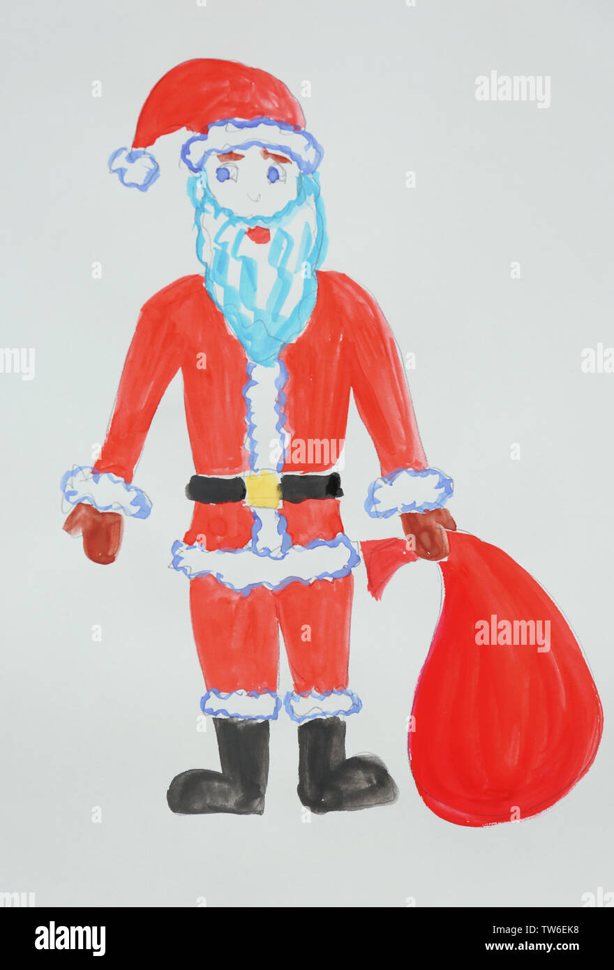 child s painting of santa claus with bag stock photo alamy https www alamy com childs painting of santa claus with bag image256454780 html