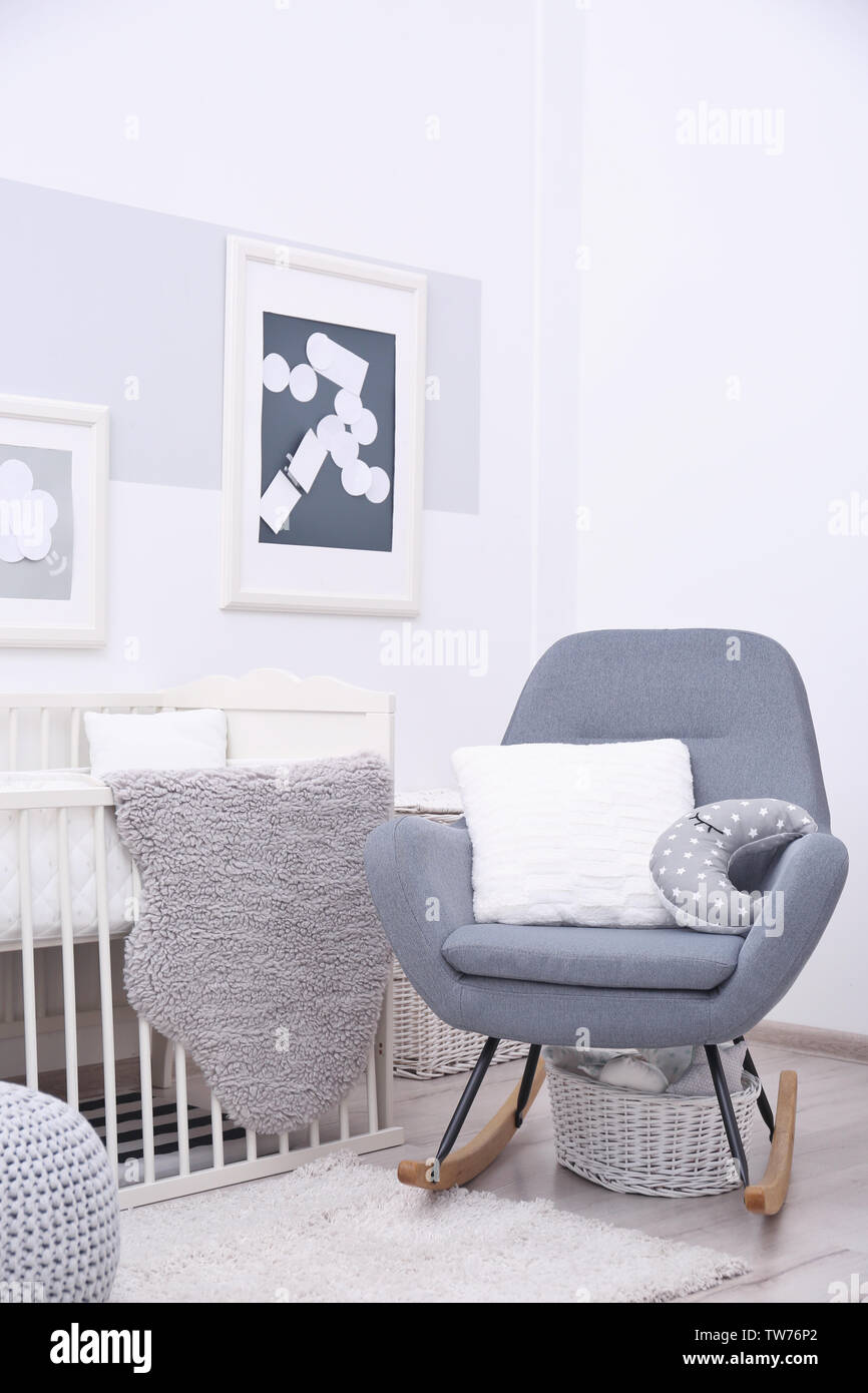 Wondrous Baby Bedroom Design With White Crib And Rocking Chair Stock Pabps2019 Chair Design Images Pabps2019Com