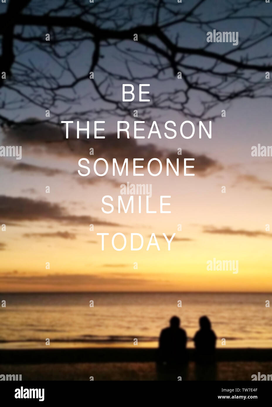 inspirational quotes be the reason someone smile today stock